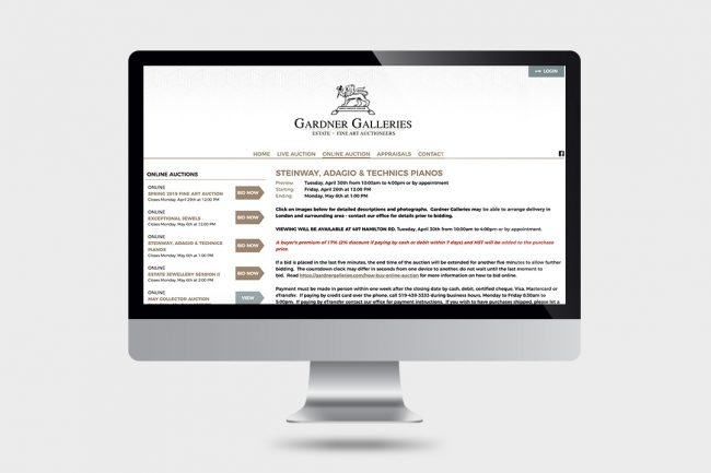 Garner Galleries Website on computer