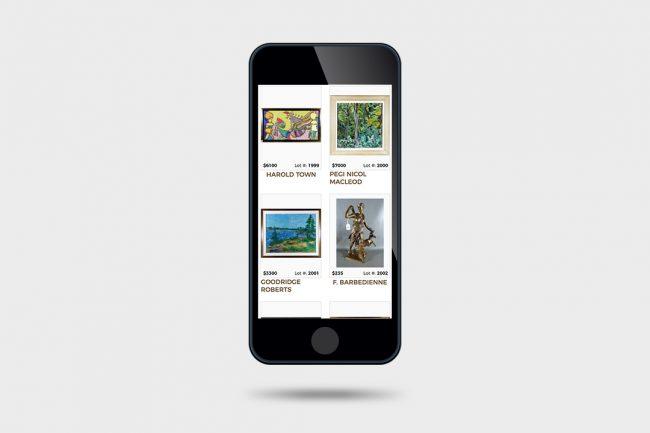 Gardner Galleries website on phone