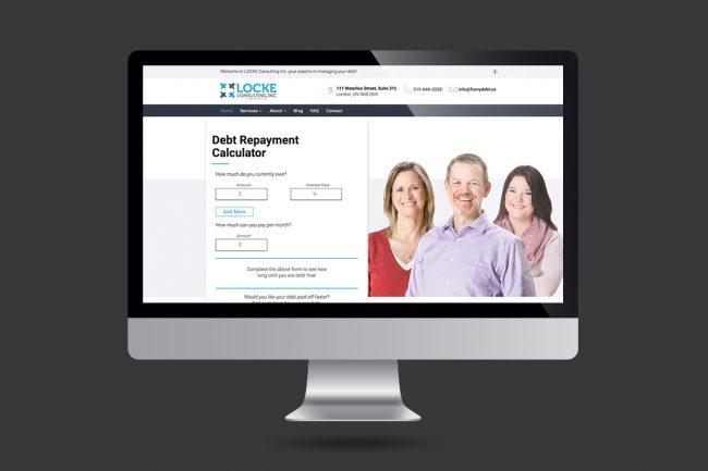 Fixmydebt.ca website con computer